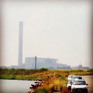 """Il """"mostro"""" Enel visto dal porto di Pila"""